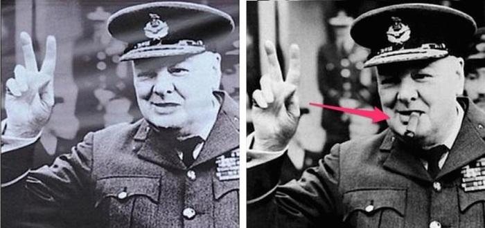 Churchill con e senza sigaro