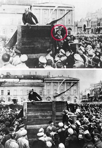 comizio di Lenin con e senza Trotzkij