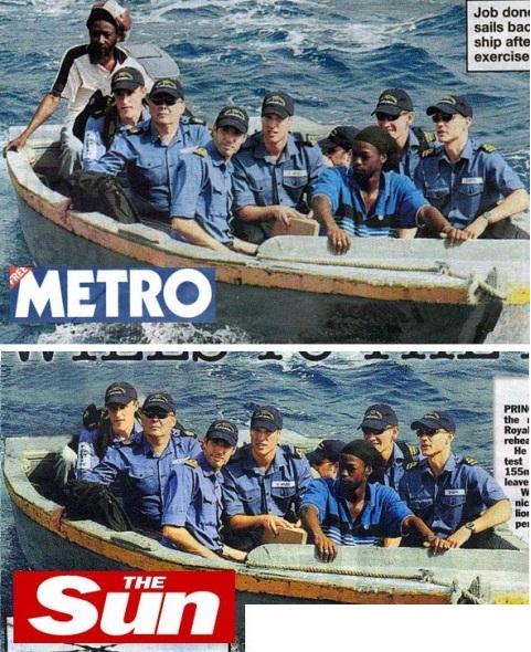 Due giornali britannici pubblicano la stessa foto, ma uno dei due sceglie di eliminare quasi del tutto l'uomo di colore seduto a prua…lasciando in bella mostra solo il suo ginocchio destro.