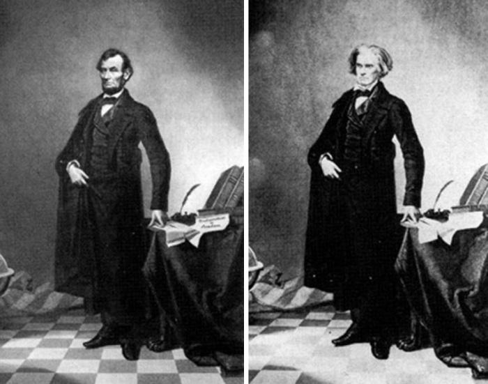 famoso ritratto di Lincoln la cui testa fu posta sul corpo di John Calhoun