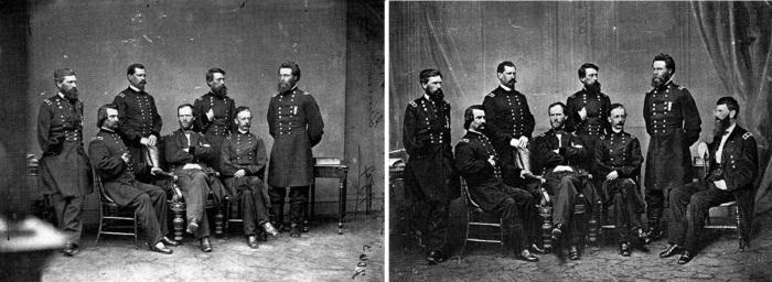 il generale Sherman e General Francis P Blair (seduto a destra) che non era presente davanti alla macchina da presa. Fu aggiunto in un secondo momento 1