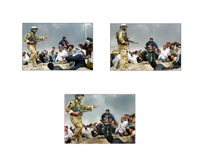 in Iraq nel 2003. Nell'immagine, un soldato britannico a Basra avverte dei civili di proteggersi dai bombardamenti. In realtà il fotografo aveva unito due foto vedi