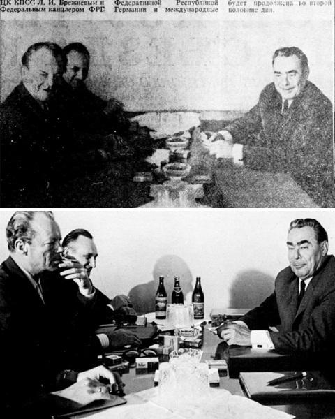 incontro tra Willy Brandt e Leonid Brezhnev. Nel ritocco bottiglie e sigarette sono rimosse