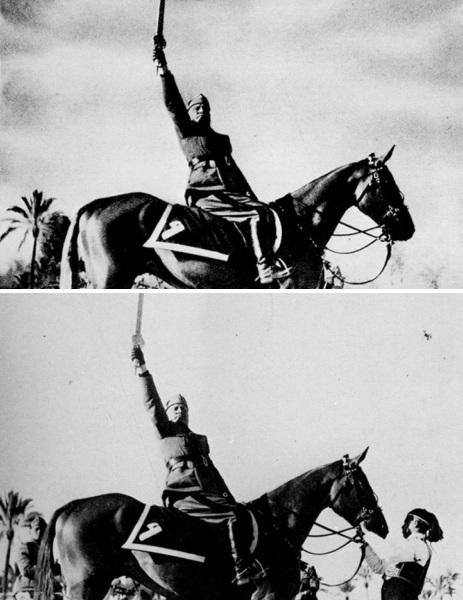 Mussolini a cavallo con e senza aiutante