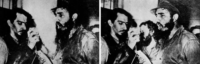 nel 1968 Fidel Castro (a destra) approvò l'intervento sovietico in Cecoslovacchia, Carlos Franqui (al centro a destra) scelse l'esilio in Italia. La sua immagine così venne rimossa