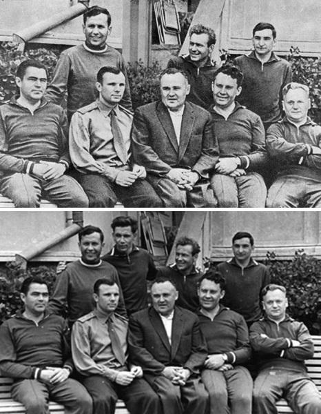 primo gruppo di astronauti sovietici nello spazio con e senza Grigoriy Nelyubov