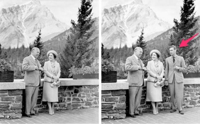 William Lyon Mackenzie King, primo ministro canadese, ed Elisabetta con e senza Giorgio VI